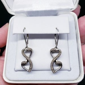 Sterling Silver Diamond Heart Infinity Earrings